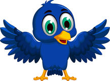 Cute blue bird cartoon waving Royalty Free Stock Photo