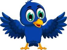 Cute blue bird cartoon waving Royalty Free Stock Photo