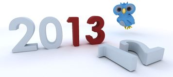 Cute Blue Bird Character  bringing in the new year Stock Image