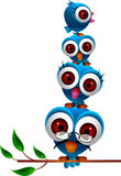 Cute blue bird family stock illustration