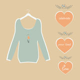 Cute blue blouse on a hanger plate painted hearts and flowers vector. Cute blue blouse hanging on a hanger plate painted hearts and flowers vector Stock Photo