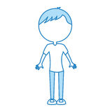 Cute blue body man cartoon Royalty Free Stock Photos