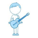 Cute blue body man cartoon Stock Photography