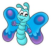 Cute blue butterfly. Color illustration Stock Images