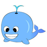Cute Blue Cartoon Whale. A Cute Looking Blue Cartoon Whale Spurting Water On It's back Stock Photography