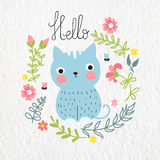 Cute blue cat with floral frame. Royalty Free Stock Images
