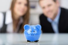 Cute blue ceramic piggy bank Royalty Free Stock Photo