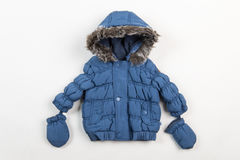 Cute blue children`s winter jacket Stock Image