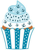 Cute blue cupcake with anchor Royalty Free Stock Photography