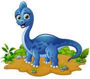 Cute blue dinosaur cartoon Royalty Free Stock Image