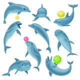Cute blue dolphins set, dolphin jumping and performings tricks with ball for entertainment show vector Illustration on a. Cute blue dolphins set, dolphin jumping royalty free illustration