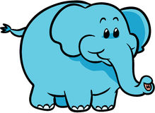 Cute blue elephant vector illustration. Adorable baby blue elephant boy Stock Images