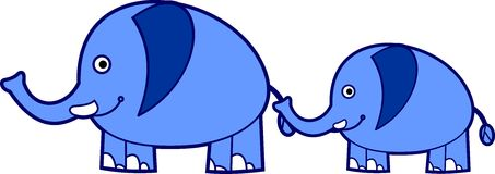 Cute blue elephants Stock Photos