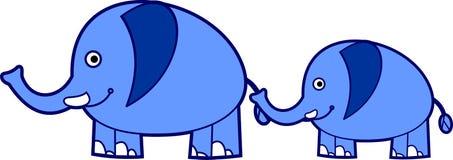 Cute blue elephants. Cute little elephant hold older elephant's tail Stock Photos