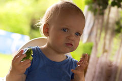 Cute blue-eyed baby boy eating cucumber. Cute blue-eyed baby boy eating a cucumber royalty free stock image