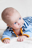 Cute blue-eyed baby boy Stock Photos