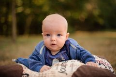 Cute blue-eyed baby boy lying on the pillow. Portrait of a cute blue-eyed baby boy lying on the pillow in the beautiful autumn park stock images