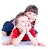 Cute blue-eyed children are playing Stock Photo