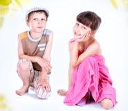 Cute blue-eyed children posing Stock Photography