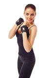 Cute blue-eyed girl posing in gloves for training Royalty Free Stock Photos