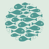 Cute blue fish circle vector design for card. Or poster Royalty Free Stock Photos