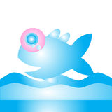 Cute blue fish    design. Cute  blue fish and wave design Royalty Free Stock Images