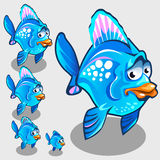 Cute blue fish with sad face, vector character. Cute blue fish with sad face, set of vector character Stock Photography