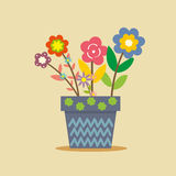 Cute blue flower pot Royalty Free Stock Image