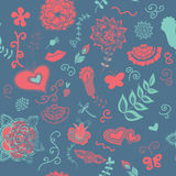 Cute blue flowers pattern Royalty Free Stock Images