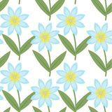 Cute blue flowers seamless pattern. Spring floral repeating textures. Summer endless background, paper, wallpaper stock illustration