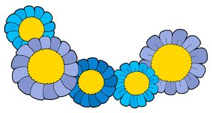 Cute blue flowers vector illustration. Five blue flowers - vector illustration Royalty Free Stock Photos