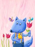 Cute blue fox holds the bird and the flower. Acrylic illustration of cute blue fox holds the bird and the flower Royalty Free Stock Photography