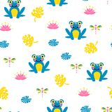Cute blue frogs seamless vector pattern. stock illustration