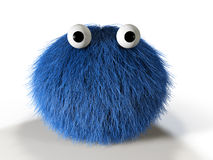 Cute blue furry monster Royalty Free Stock Photos