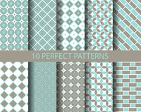 10 cute blue geometric patterns. Pattern Swatches, vector, Endless texture can be used for wallpaper, pattern fills, web page,background,surface Royalty Free Stock Images