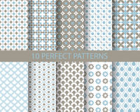 10 cute blue geometric patterns. 10 cute blue  patterns, Pattern Swatches, vector, Endless texture can be used for wallpaper, pattern fills, web page,background Royalty Free Stock Image