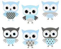 Cute blue and grey vector owls. Set for baby showers, birthdays, invites, greeting cards and nursery decor stock illustration
