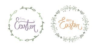Cute blue happy easter day lettering. Calligraphy postcard or poster graphic design lettering element. Handwritten calligraphy royalty free stock photos