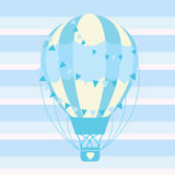Cute blue hot air balloon vector cartoon suitable for baby nursery wall, and greeting card Royalty Free Stock Photos