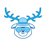 Cute blue icon vintage deer face cartoon Royalty Free Stock Images