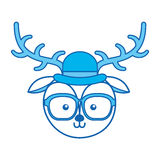 Cute blue icon vintage deer face cartoon Royalty Free Stock Image
