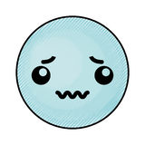 Cute blue kawaii emoticon face Stock Photo