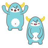 Cute Blue Kawaii Yeti Stock Photo