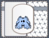 Cute blue monster card Royalty Free Stock Images