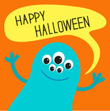 Cute blue monster with speech text bubble. Happy Halloween card. Flat design. Royalty Free Stock Image