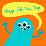 Cute blue monster with speech text bubble. Happy Valentines day card Flat design. Royalty Free Stock Photography