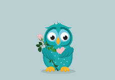 Cute blue owlet waiting to give a  of flower pink rose and heart Royalty Free Stock Images
