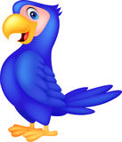Cute blue parrot cartoon Royalty Free Stock Photography