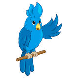 Cute blue parrot.Vector illustration. Stock Photography