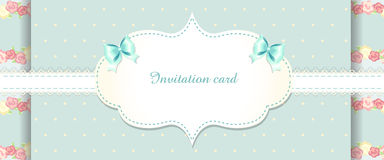 Cute blue and pink invitation card. shabby chic Royalty Free Stock Photos